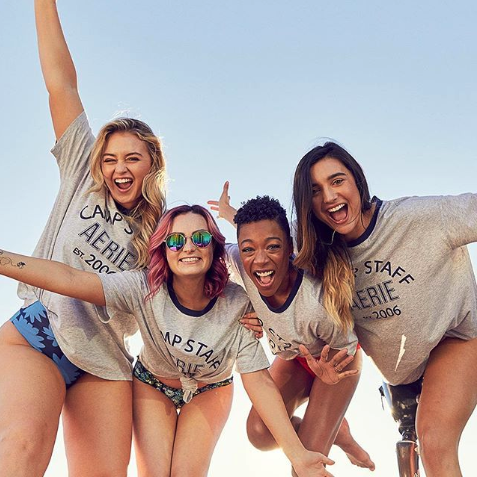 Aerie models pose for a photo