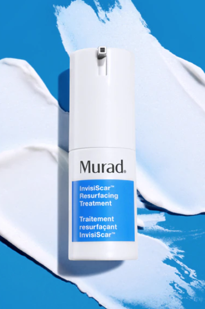 Close-up of a bottle of Murad's InvisiScar Resurfacing Treatment.