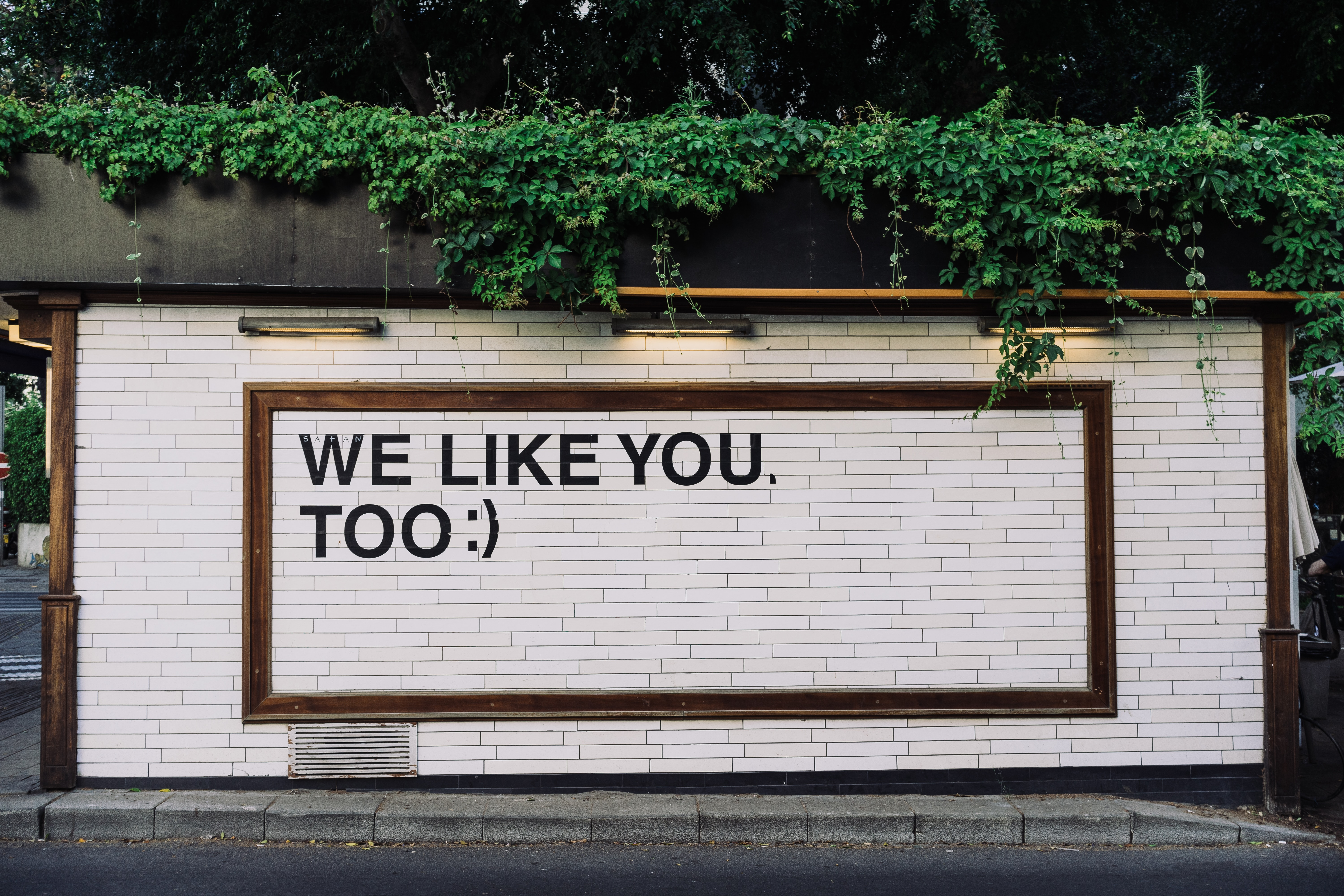 "A photo of a white brick wall with the phrase ""We Like You, Too"" printed on it."